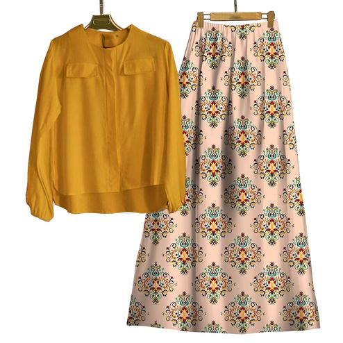 Attractive Yellow-Beige Colored Casual Wear Digital Printed Rayon Top-Skit Set