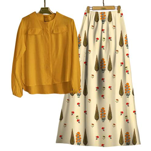 Blooming Yellow-Cream Colored Casual Wear Digital Printed Rayon Top-Skit Set
