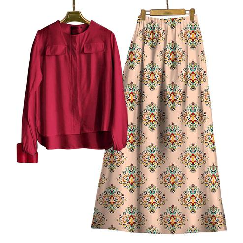 Charming Maroon-Beige Colored Casual Wear Digital Printed Rayon Top-Skit Set