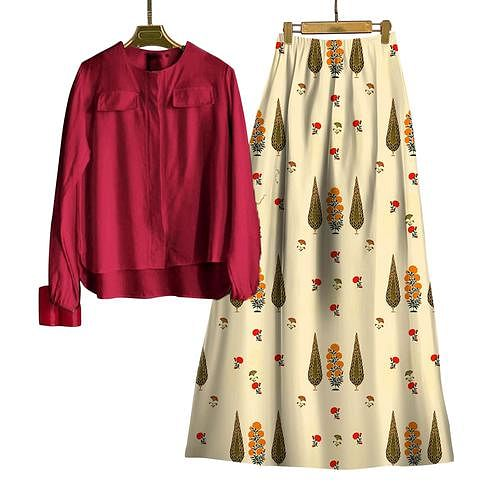 Jazzy Maroon-Cream Colored Casual Wear Digital Printed Rayon Top-Skit Set