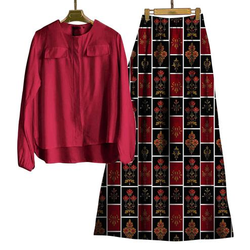 Engrossing Maroon-Multi Colored Casual Wear Digital Printed Rayon Top-Skit Set