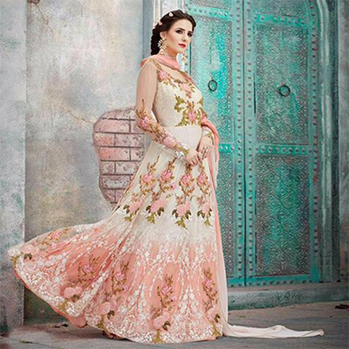 Mesmerising Off White Designer Embroidered Anarkali Gown