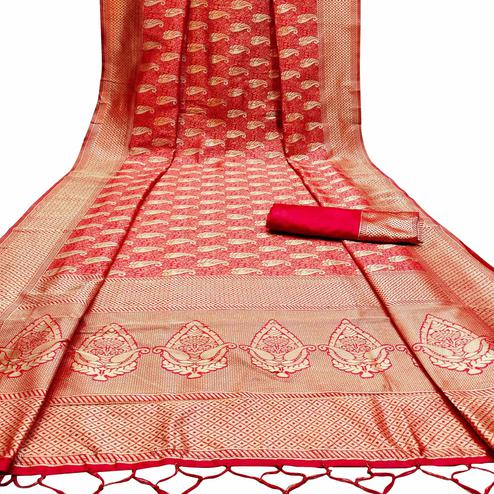 Blooming Red Colored Festive Wear Woven Banarasi Silk Saree With Tassels