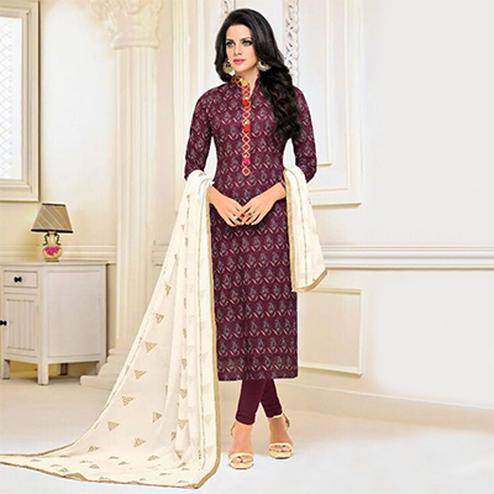Wine Color Cotton Straight Cut Salwar Suit