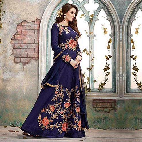 Stunning Blue Designer Embroidered Anarkali Gown