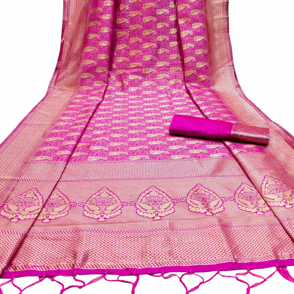 Captivating Pink Colored Festive Wear Woven Banarasi Silk Saree With Tassels