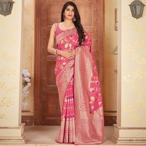 Graceful Pink Colored Festive Wear Woven Silk Saree