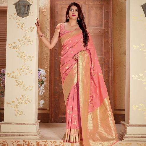 Charming Peach Colored Festive Wear Woven Silk Saree