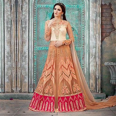 Lovely Beige Designer Embroidered Lehenga Kameez