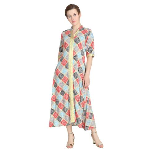 Attractive Multi Colored Casual Wear Bandhani Block Printed Rayon Kurti