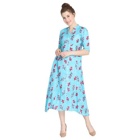 Blooming Sky Blue Colored Casual Wear Floral Printed Rayon Dress