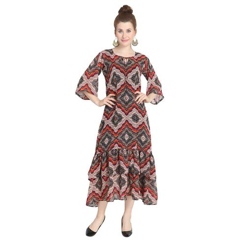 Charming Multi Colored Casual Wear Printed Georgette Boho Hippie Flared Dress With Slip