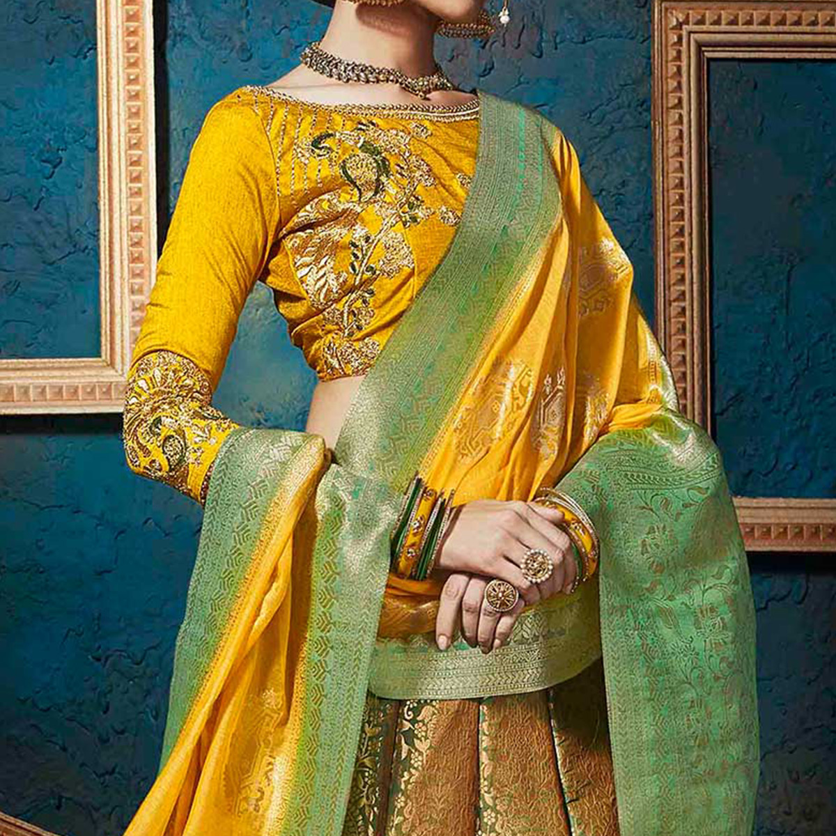 Sensational Golden-Yellow Pure Silk Jacquard Designer Lehenga Choli