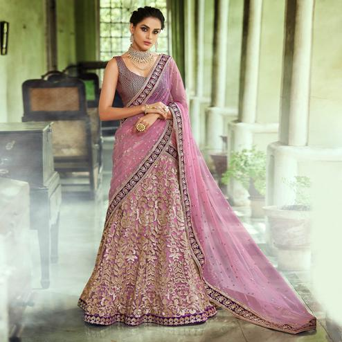 NAKKASHI - Groovy Pink Colored Wedding Wear Embroidered Netted Lehenga Choli