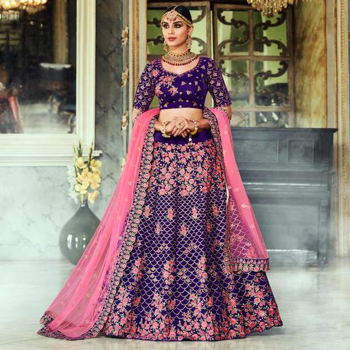 NAKKASHI - Exclusive Dark Purple Colored Wedding Wear Embroidered Velvet Lehenga Choli