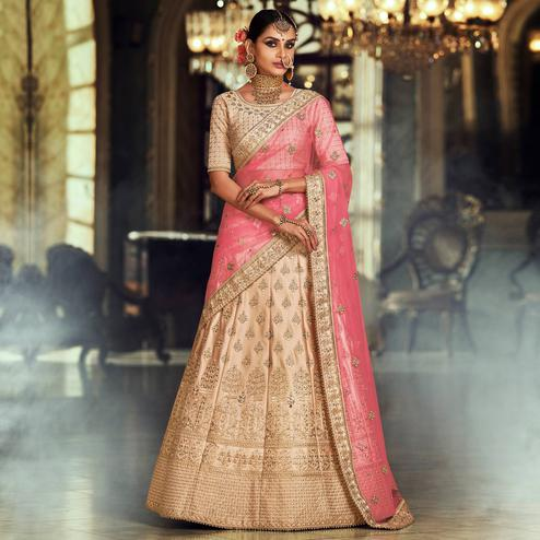 NAKKASHI - Sophisticated Beige Colored Wedding Wear Embroidered Satin Silk Lehenga Choli