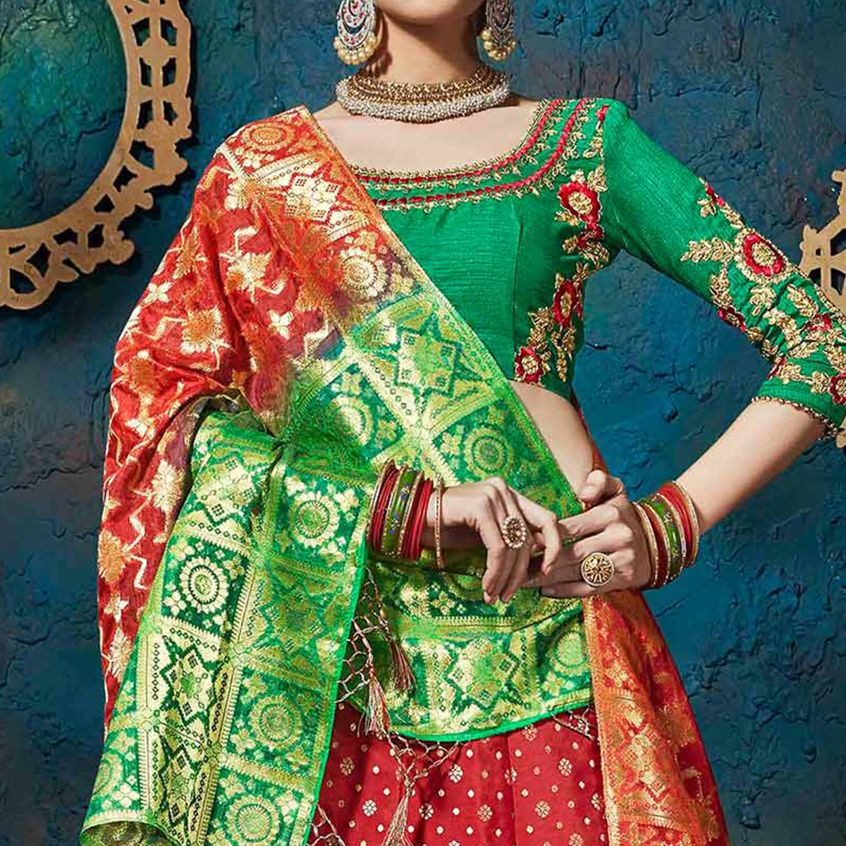 Charming Red-Green Pure Silk Jacquard Designer Lehenga Choli