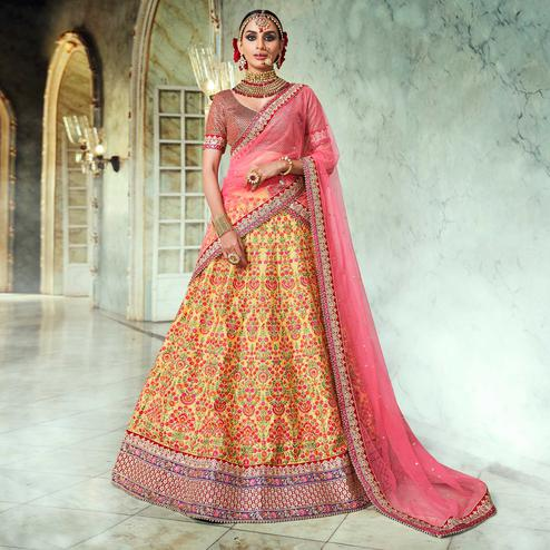 NAKKASHI - Breathtaking Yellow Colored Wedding Wear Embroidered Raw Silk Lehenga Choli