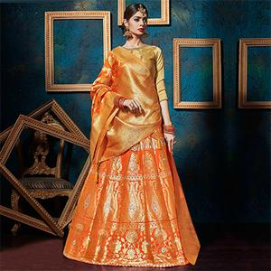 Sizzling Orange-Gold Pure Silk Jacquard Designer Lehenga Choli