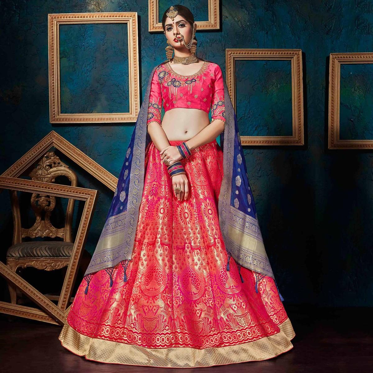 Traditional Pink-Blue Pure Silk Jacquard Designer Lehenga Choli