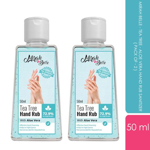 Mirah Belle - Tea Tree - Aloe Vera Hand Rub Sanitizer (50 ML - Pack of 2) , 100 ml