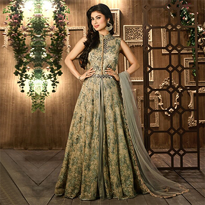 Green - Beige Floral Embroidered Work Suit