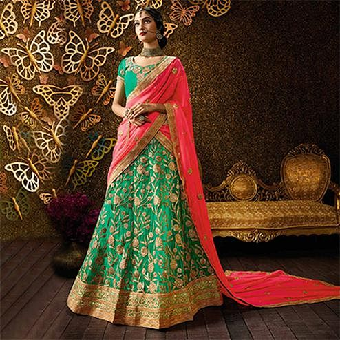 Dazzling Rama Green-Peach Designer Net Embroidered Lehenga Choli With Chiffon Dupatta