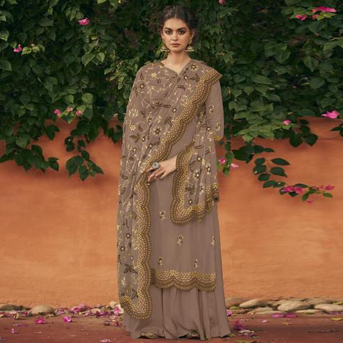 Blissful Coffee Brown Colored Partywear Floral Embroidered Italian Silk Palazzo Suit