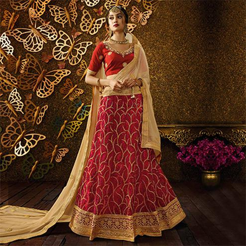 Traditional Red-Beige Designer Net Embroidered Lehenga Choli With Chiffon Dupatta