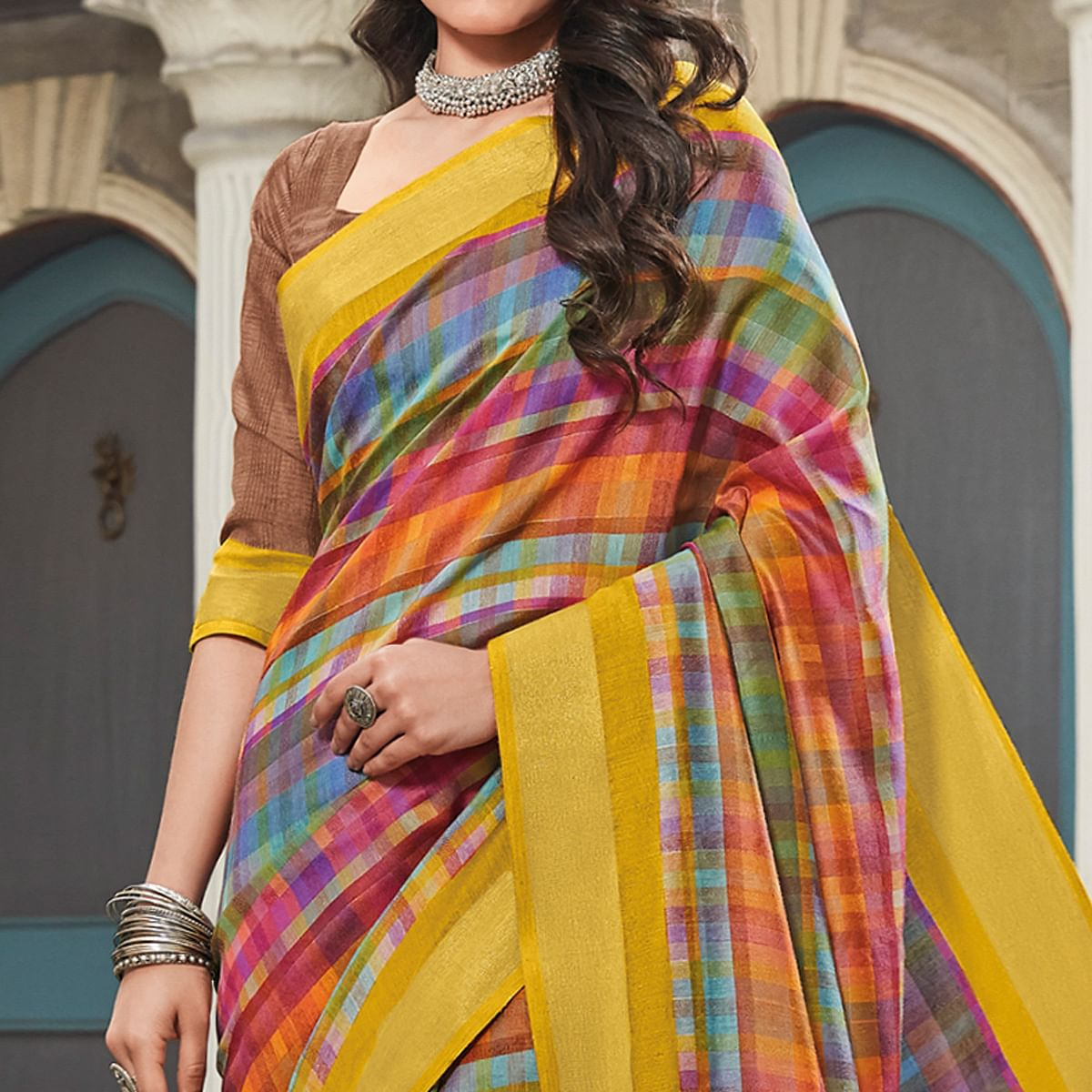 Pleasance Multicolored Colored Partywear Printed Cotton Saree