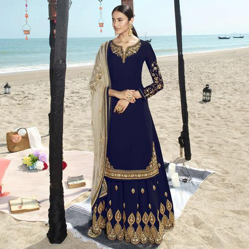 Refreshing Blue Colored Partywear Embroidered Faux Gerogette Palazzo Suit
