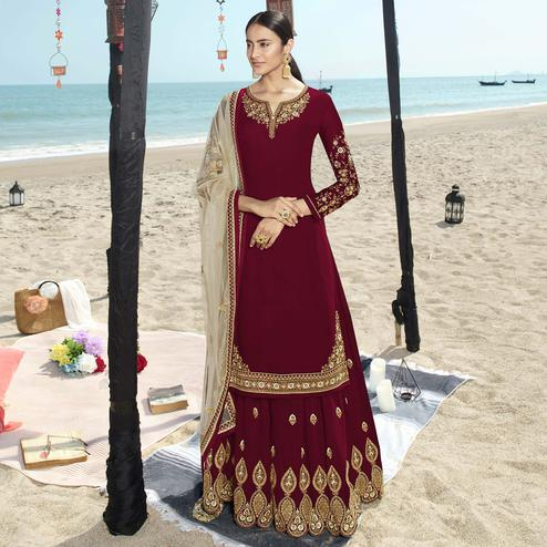 Hypnotic Red Colored Partywear Embroidered Faux Gerogette Palazzo Suit