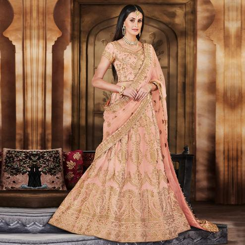 NAKKASHI - Pleasance Peach Colored Wedding Wear Embroidered Silk Lehenga Choli