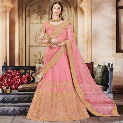 NAKKASHI - Marvellous Pink Colored Wedding Wear Embroidered Silk Lehenga Choli