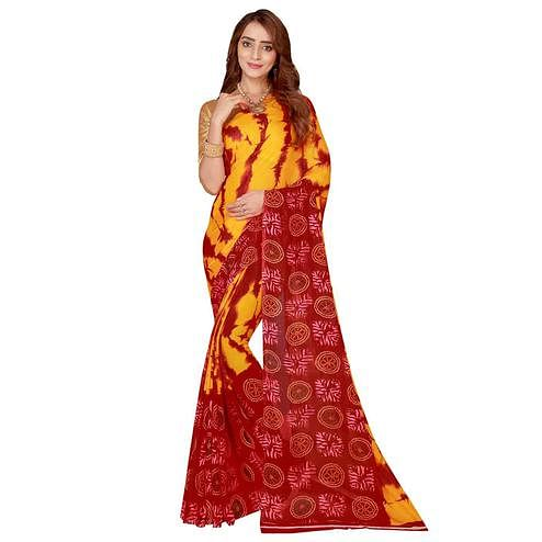 Charming Yellow-Red Colored Casual Wear Bandhani Printed Georgette Saree