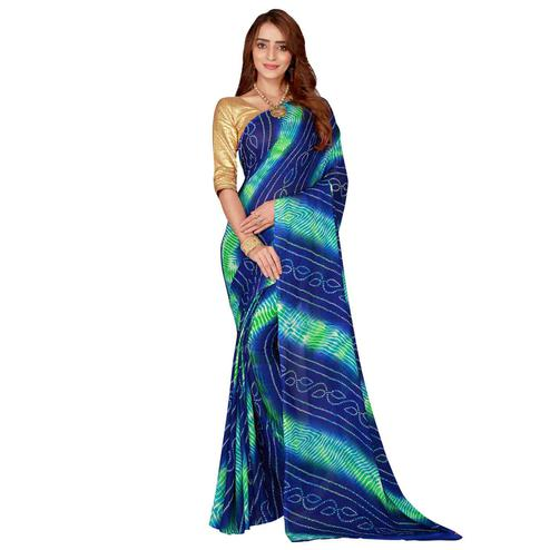Jazzy Blue Colored Casual Wear Printed Bandhani Georgette Saree