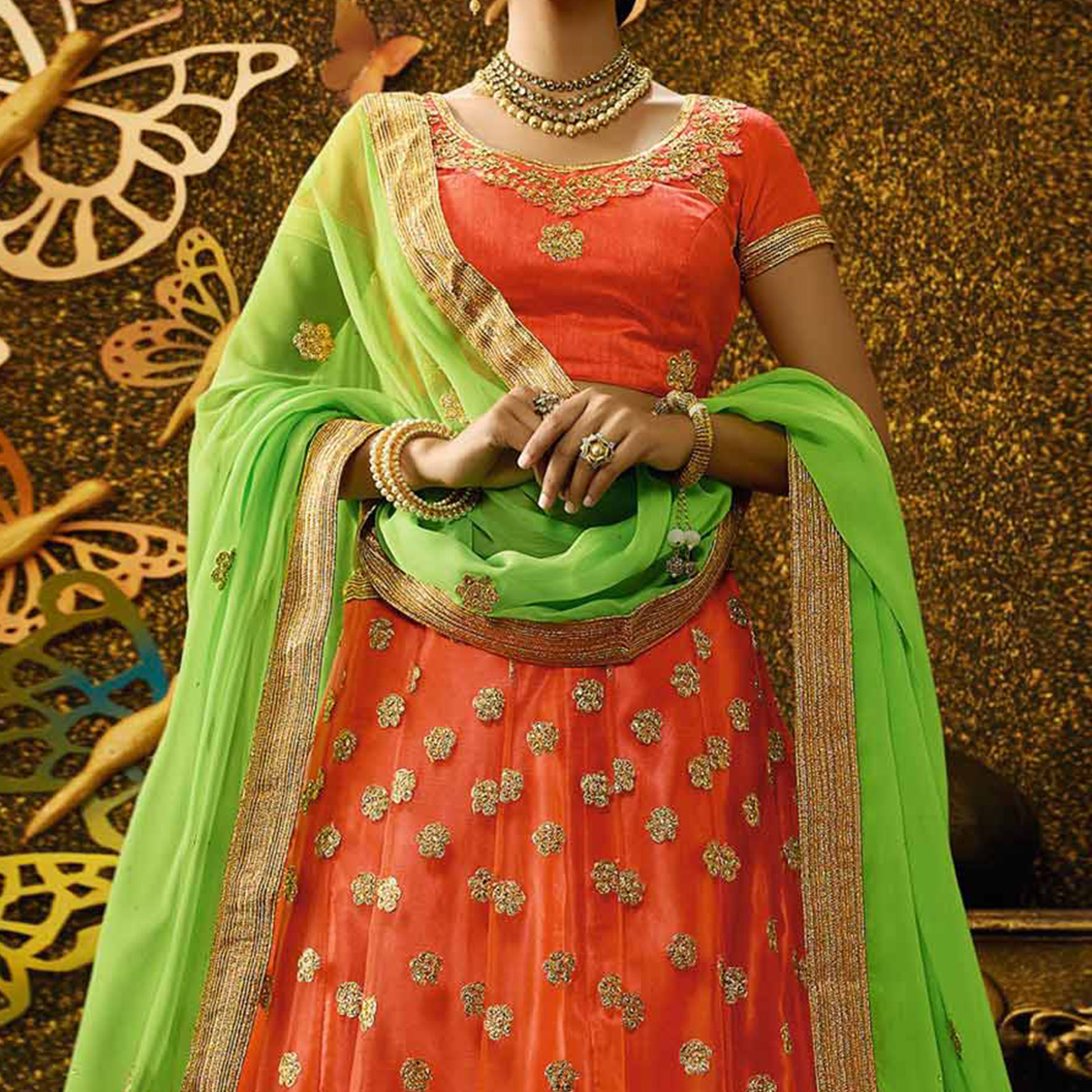 Lovely Orange-Green Designer Net Embroidered Lehenga Choli With Chiffon Dupatta