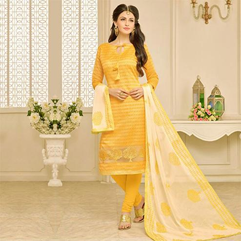 Yellow Chanderi Embroidered Work Suit