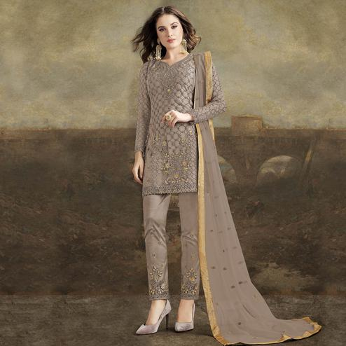 Pleasance Beige Colored Partywear Pakistani Straight Net Pant Style Salwar Suit