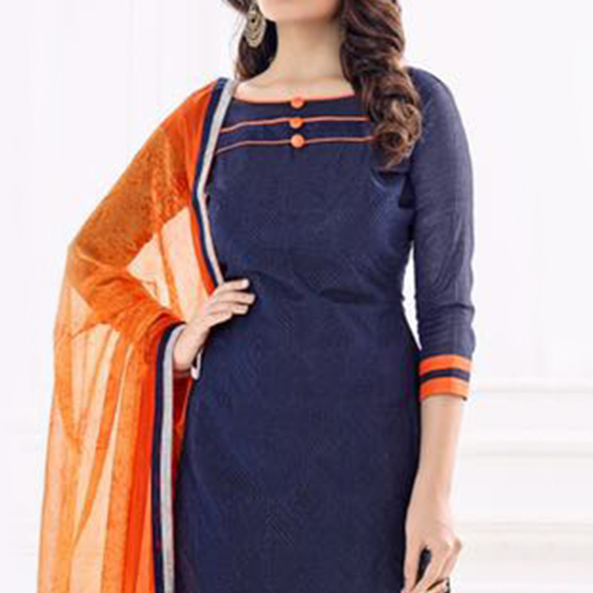 Blue - Orange Chanderi Straight Cut Salwar Suit
