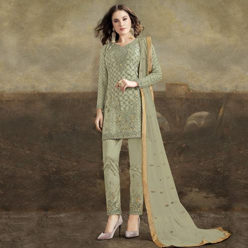 Breathtaking Green Colored Partywear Pakistani Straight Net Pant Style Salwar Suit