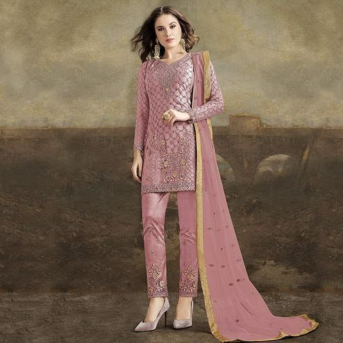 Ethnic Pink Colored Partywear Pakistani Straight Net Pant Style Salwar Suit