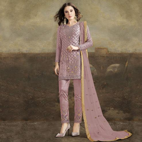 Ravishing Purple  Colored Partywear Pakistani Straight Net Pant Style Salwar Suit