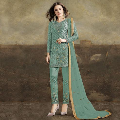 Staring Sky Blue Colored Partywear Pakistani Straight Net Pant Style Salwar Suit