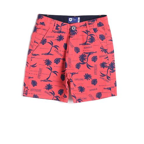 612 League - Rust Colored Basic Print Cotton Shorts For Boys