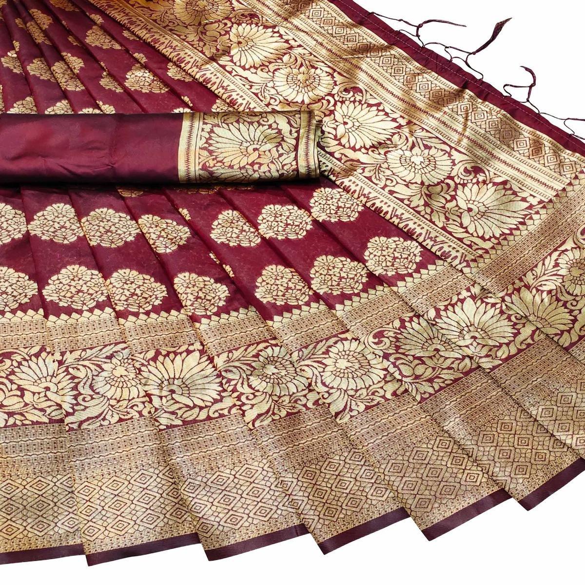 Pleasant Maroon Colored Festive Wear Woven Banarasi Silk Saree