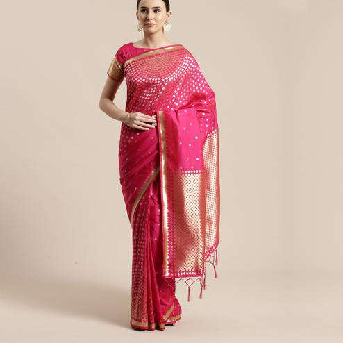 Adorable Pink Colored Festive Wear Silk Blend Woven Geometric Saree With Tassels