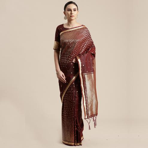 Glorious Brown Colored Festive Wear Silk Blend Woven Geometric Saree With Tassels