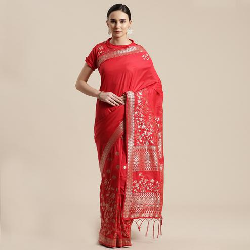 Beautiful Red Colored Festive Wear Silk Blend Woven Geometric Saree With Tassels