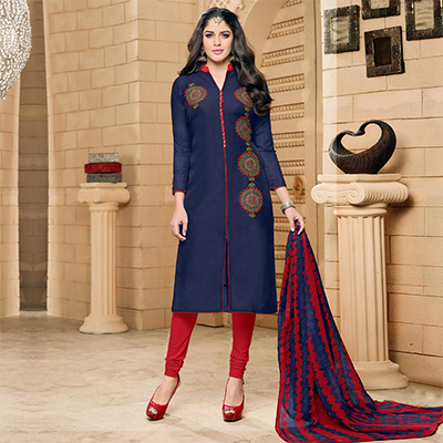 Blue - Red Embroidered Work Salwar Suit